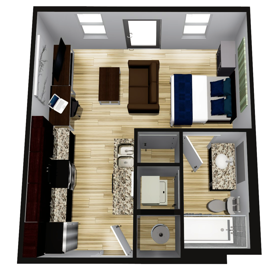 Quarters Bloomington Studio Floor Plan