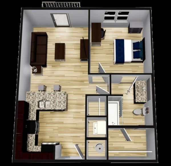 A1: 1 BR 1BA - 608 sq ft