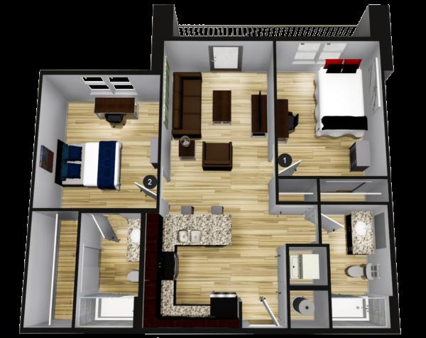 A2: 2BR 2BA - 871 sq ft