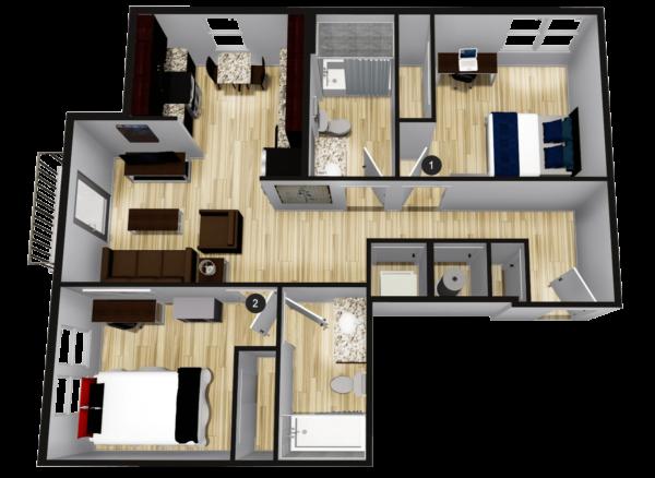 B2: 2BR 2BA - 756 sq ft