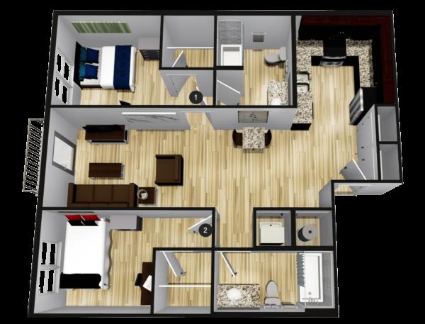 C2: 2BR 2BA - 864 sq ft