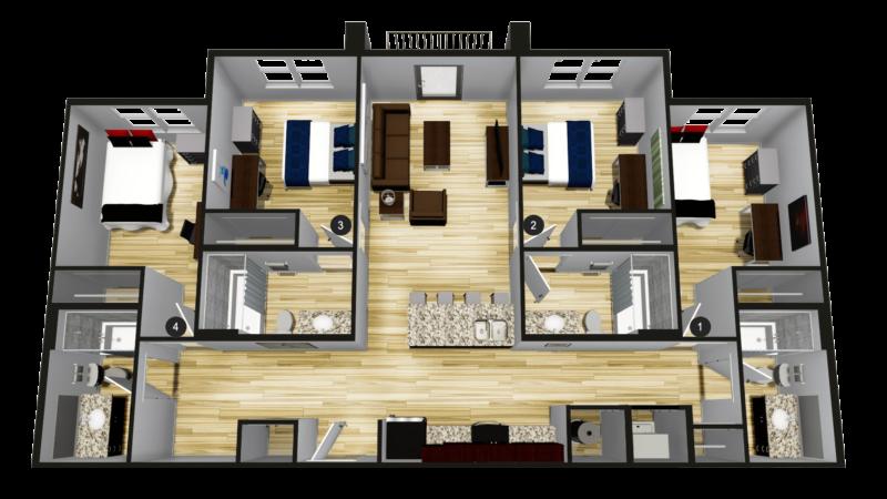 A4: 4BR 4BA - 1,239 sq ft